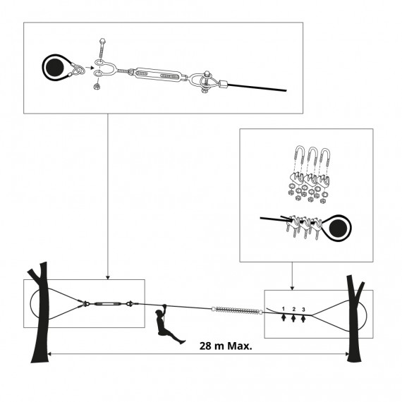Cable élingue pour arbre