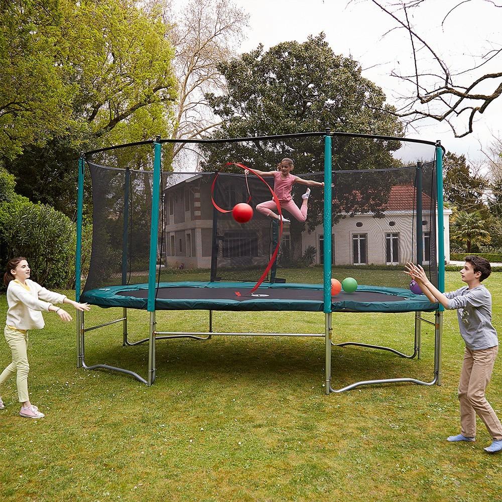 ovalie 490 trampolin mit fangnetz. Black Bedroom Furniture Sets. Home Design Ideas