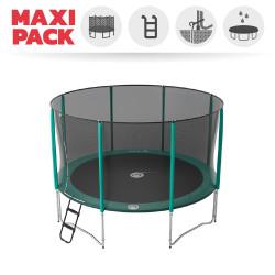 Maxi Packet Trampolin Jump'Up 390 mit Netz + Leiter + Ankerset + Premium Abdeckplane