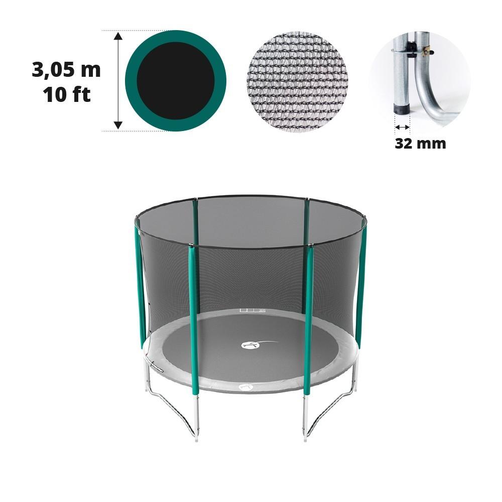 sicherheitsnetz mit 6 randpfosten f r trampolin 305. Black Bedroom Furniture Sets. Home Design Ideas