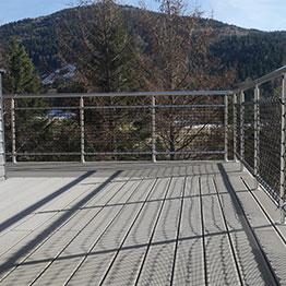 Garde-Corps terrasse en mailles nouées 60 mm